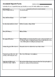 Accident Report Template Word Work Form Incident Printable