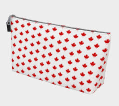 red maple leaf pattern from flag of canada makeup bag thumbnail 2