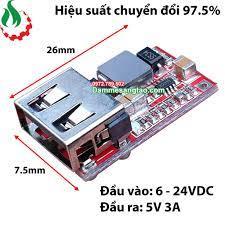 DMST Mạch hạ áp đầu vào 6V 24V đầu ra 5V 3A sạc điện thoại