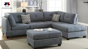 sofa with ottoman chaise. Beautiful With Blue Grey Fabric 3PC Reversible Chaise Sectional Sofa Ottoman Set To With C