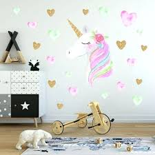 cartoon cute magic unicorn wall stickers colorful animals horse heart decals for kids girls room poster geometric heart wall decal