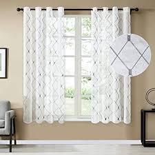 topfinel white voile curtains 84 drop 2
