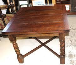 English Antique Oak Draw Drop Leaf Dining Table With Barley