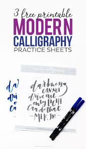 3 Free Printable Modern Calligraphy Practice Sheets