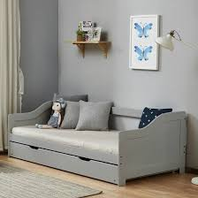 tupelo wooden single bed in grey with