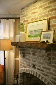 a light colored grout was applied to lighten up a dark red brick fireplace