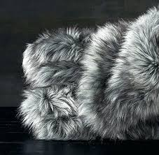 grey fur rug exotic faux blanket in gray fox dark linden area how to clean ikea