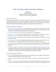 Topic 4 Writing An Organic Chemistry Lab Report