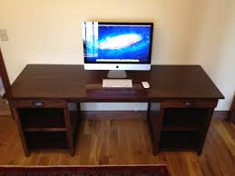 furniture for computers at home. Furniture. Rectangle Dark Brown Wooden Computer Desk With Drawers And Racks On Floor Furniture For Computers At Home M