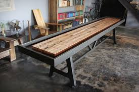 industrial look furniture. district mfg shuffleboard fuses industrial look with solidity furniture