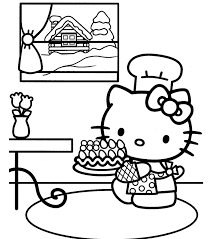 Hello Kitty Coloring Pages Birthday Cake Birthday Coloring Pages