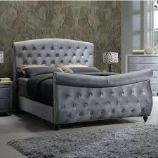 tufted upholstered sleigh bed. Interesting Upholstered Tufted Sleigh Bed King Medium Size Of Meridian Furniture K Grey  Velvet Upholstered Headboard And Windville With H