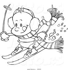 Small Picture Cartoon Vector of Cartoon Baby Girl Skiing Coloring Page Outline