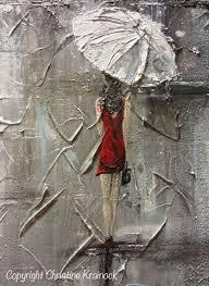 original art abstract painting girl red umbrella white red dress grey blue city modern fine art canvas gift wall art wall decor 18x24 christine krainock  on girl with umbrella wall art with original art abstract painting girl red umbrella white red dress