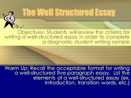 the well structured essay objectives students will review the  the well structured essay objectives students will review the criteria for writing a well