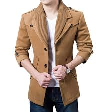 autumn winter classic lapel coat mens single ted casual woolen long trench coat