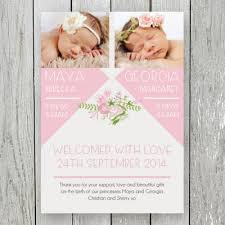 newborn baby announcement sample twin baby girl photo birth announcement thank you cards double sided