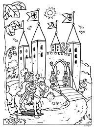 Castle Colouring In Page Drawing Ridders Kastelen En Prinsessen