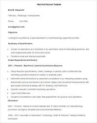 Machinist Resume Template Manufacturing Resume Template 100 Free Samples Examples Format 48