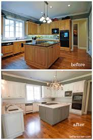 white painted oak kitchen cabinets. Painting Oak Kitchen Cabinets Before And After Trends Benefits Of Gel Stain How To Picture ~ Albgood.com White Painted