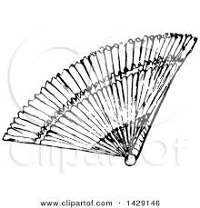 fan clipart black and white. clipart of a vintage black and white hand fan - royalty free vector illustration by prawny