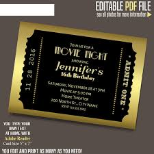 Concert Ticket Invitations Template Fascinating Movie Ticket Invitation Gold And Black Ticket Template Printable