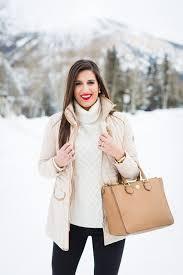ivory turtleneck quilted jacket beige jacket preppy jacket preppy winter outfit