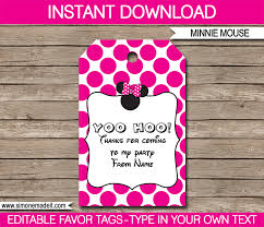 minnie mouse party favor tags thank you tags birthday party editable diy template