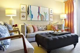 funky furniture for living room. beautiful and funky furniture placement in a small rectangular living room with beige sofa pastel colored pillows an ottoman as coffee table for i