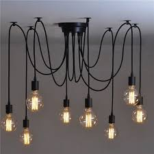 lemonbest 8 head vintage industrial style edison chandelier retro diy e27 hanging pendant lamp ceiling light fixtures