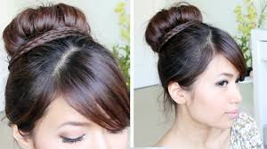 Different Bun Hairstyles Sock Bun Braid Updo Hairstyle For Medium Long Hair Tutorial Youtube