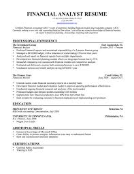 Financial Analyst Create Resume Examples For Financial Analyst