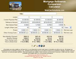 refinance calculations mortgage refinance comparison calculator webcalcsolutions com