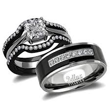 hers and hers wedding bands. his and hers wedding ring sets couples matching rings - women\u0027s steel \u0026 men\u0027s bands e