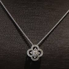details about gabriel 14k white gold diamond clover pendant necklace new
