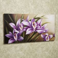 decoration: Beautiful Flower Painting On Simple Square Frame With Cute  Purple Flowers Closed Sweet Sepal