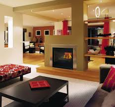 harmonious home interior decoration identify appealing see through fireplace design