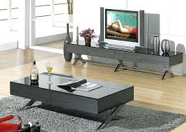 modern glossy gray coffee table tv stand and set black full size