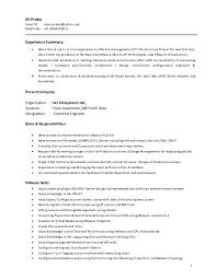 ... Samples Lovely Vmware Resume 14 Prabu M Vmware And Windows Resume ...