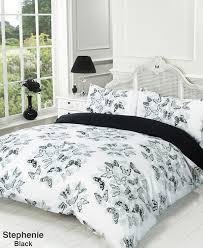 stephanie black white grey erfly super king duvet quilt cover bedding set co uk kitchen home