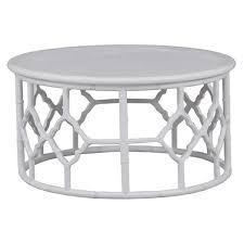 junzi mahogany timber oriental round coffee table 90cm white