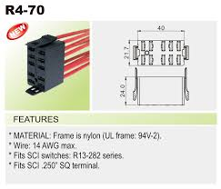 r4) wire connector car switches bentex R13 135 Switch Wiring Diagram wire 14 awg max * fits sci switches r13 282 series * fits sci 250\