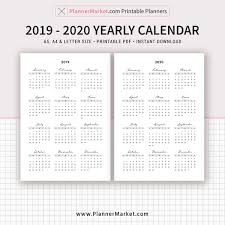Calendar Yearly 2020 2019 Calendar 2020 Calendar Yearly Calendar Filofax A5 A4 Letter Size Planner Refill Printable Planner Inserts Instant Download