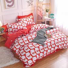 cartoon cat luxury bedding set bed set twin queen king bed linens white red duvet cover sheet children fashion bedclothes bedding comforter set comforters