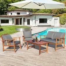 4 pcs wooden patio furniture set table