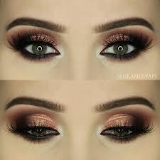 sophisticated bronze smoky makeup look via