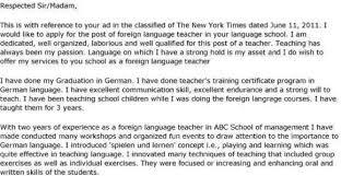 English Teacher Profile Free Resume