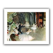 the rehearsal of the ballet on stage by edgar degas painting print on rolled canvas