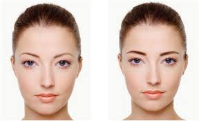 before left after applying eyebrows with youcam makeup right