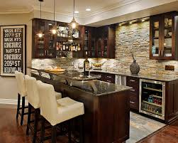 View in gallery Custom basement bar complements a cool wine cellar [Design:  Creative Design Construction]